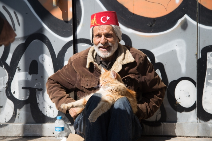 Istanbul is a city of many cats.  This guy is obviously a feline lover