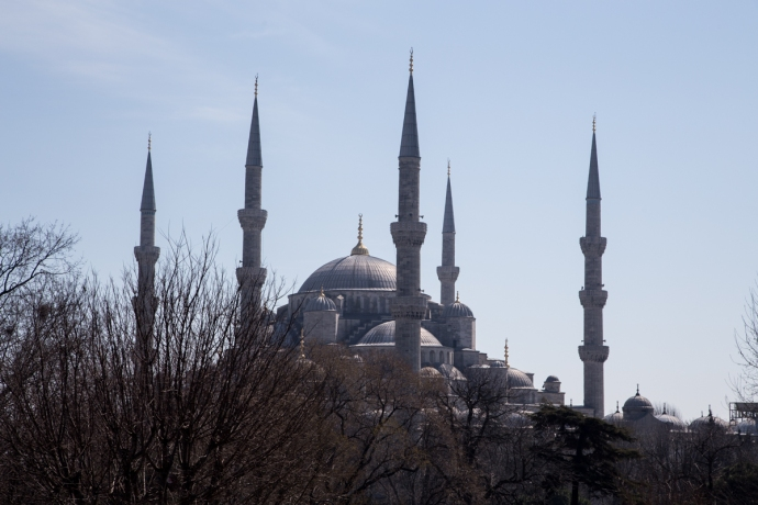 Our first sighting of the Blue Mosque, which was the only mosque I saw in Istanbul which had 6 minarets (the towers you see).  One of them on the Blue Mosque was under construction while we were there, though