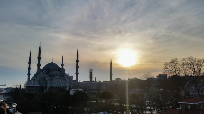 The Blue Mosque during sunset from atop the Seven Hills Restaurant in Istanbul