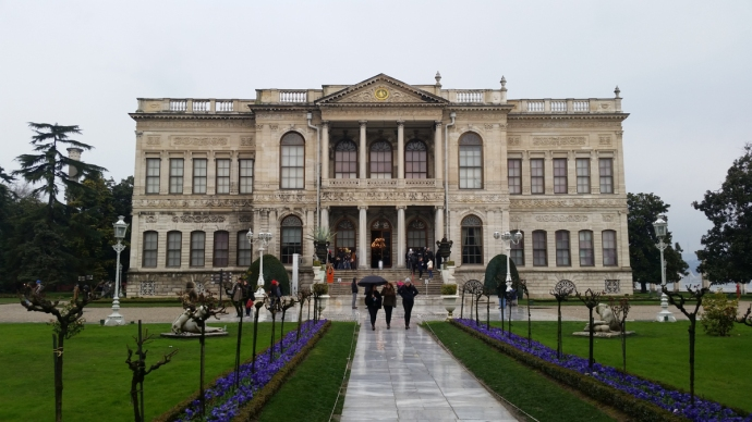 Front and center view of the Dolmabahçe Palace