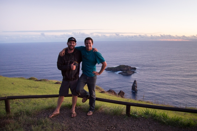Atop the Rano Kau crater in the Orongo religious site, with all 3 Motu Islands (Motu Nui, Motu Iti and Motu Kau Kau) visible in the background.