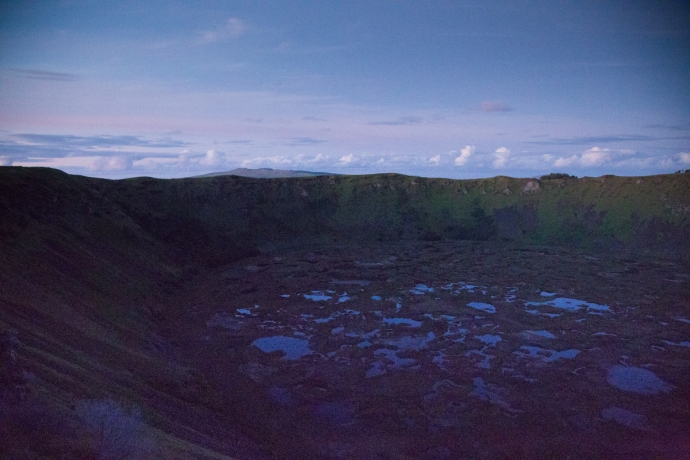 This is the Ranu Kau crater. I'm standing on the ledge that the losing warriors would have to jump to their deaths from.