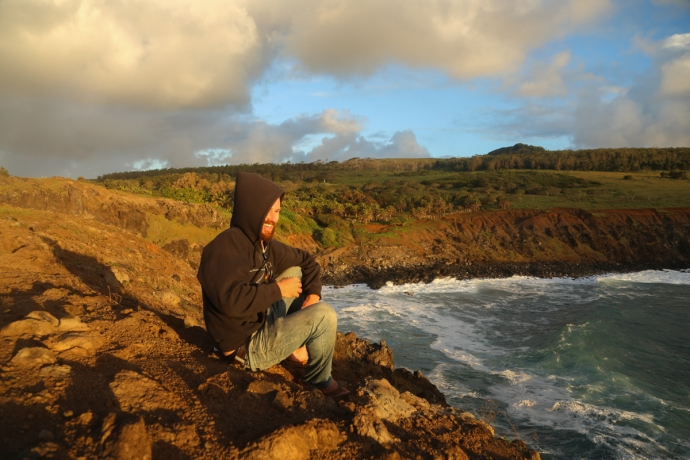 Brant watching waves break at Mataveri. Wait for Rapa Nui Part 2 to see what the waves had in store for us.