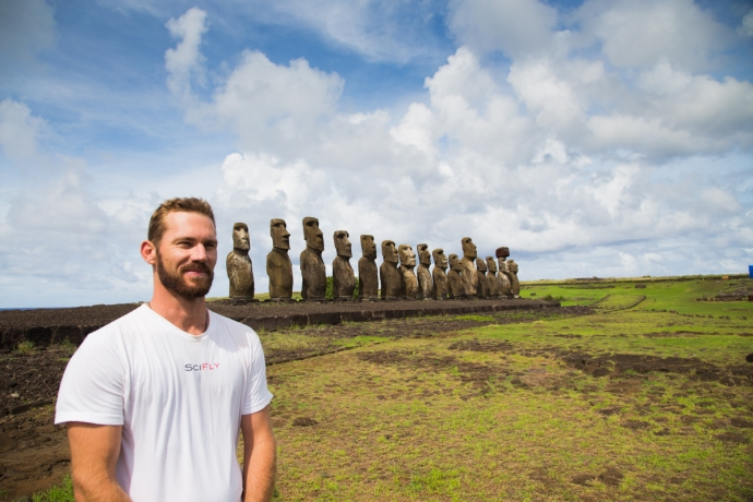 The most famous collection of standing Moai on Rapa Nui is at Tongariki