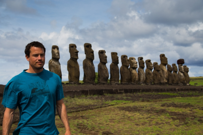Me trying to pose as a moai in front of the actual Moai at Tongariki