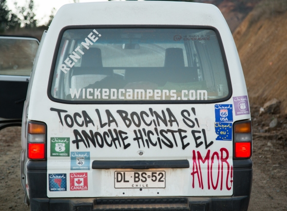 "The back of Vansky. The Spanish says ""Honk your horn if you made love last night"" ... now it makes sense why I kept getting honked at by passing cars!"