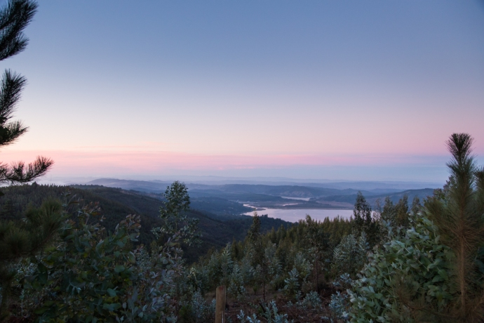 Overlooking beautiful Lago Vichuquen during dusk