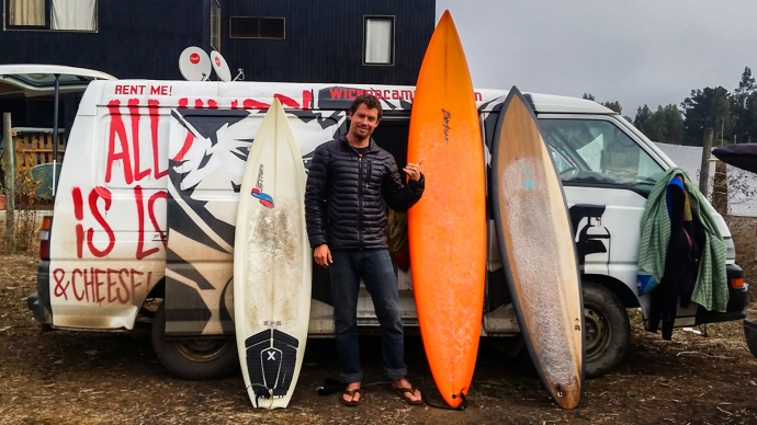 Benjamin Carvallo took this shot of me with Vansky and my quiver for the chile trip. All of these boards got some tube time.