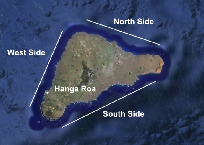 the 3 sides of Rapa Nui, a very triangular island