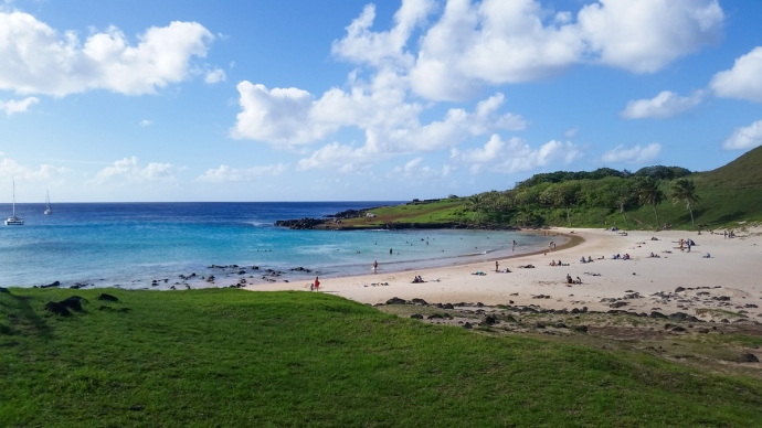 Anakena beach, which apparently can get waves on north swells