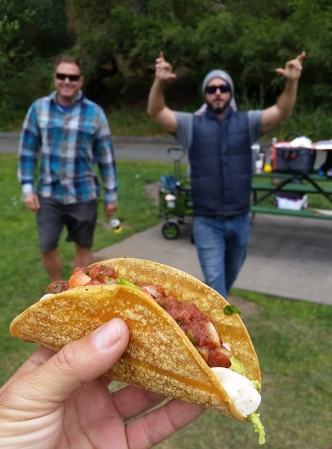 Oh my tasty fish taco, with Todd and his cousin Brent coming inc for a closeup